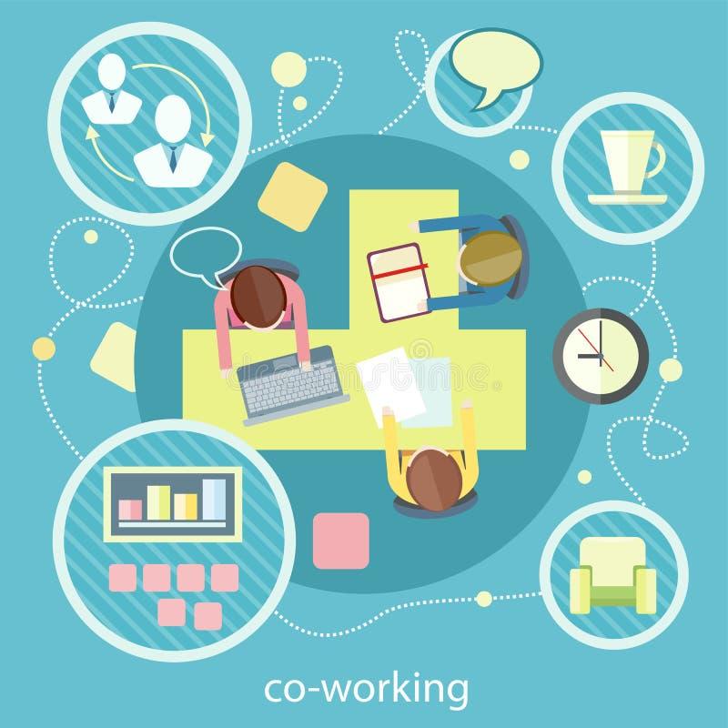 Coworking概念 企业生意人cmputer服务台膝上型计算机会议微笑的联系与使用妇女 皇族释放例证