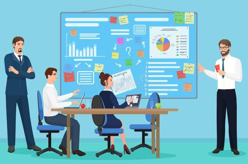 coworking的中心的概念 企业颁奖大会 谈话和在露天场所的人们 向量例证