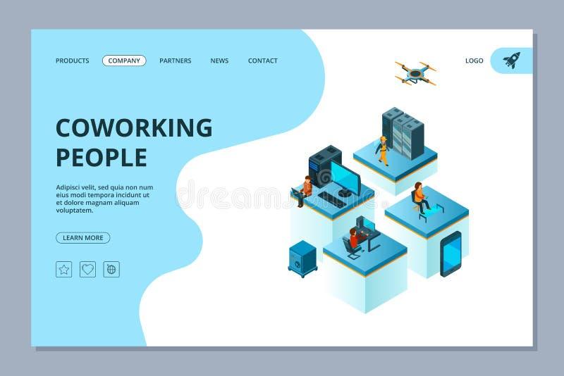 Coworking着陆 网页设计模板商人遇见和群策群力传染媒介的对组织工作经理 向量例证
