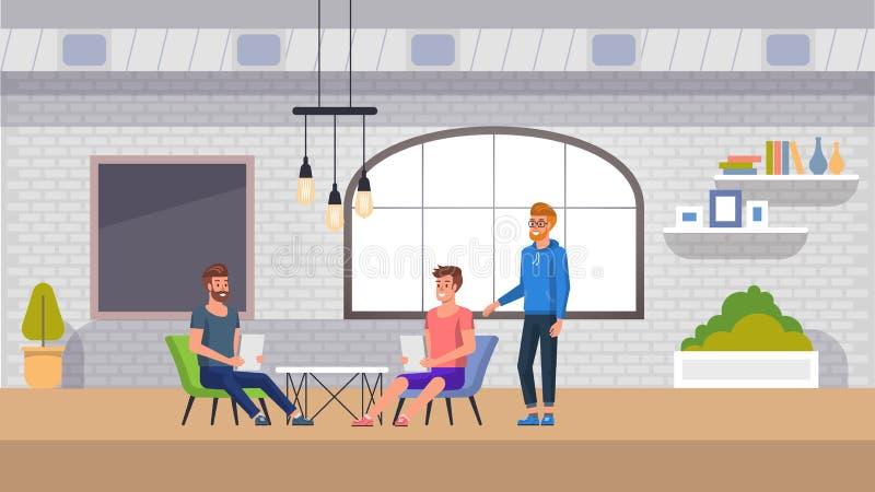 Coworking空间内部横幅 现代办公室工作 向量例证