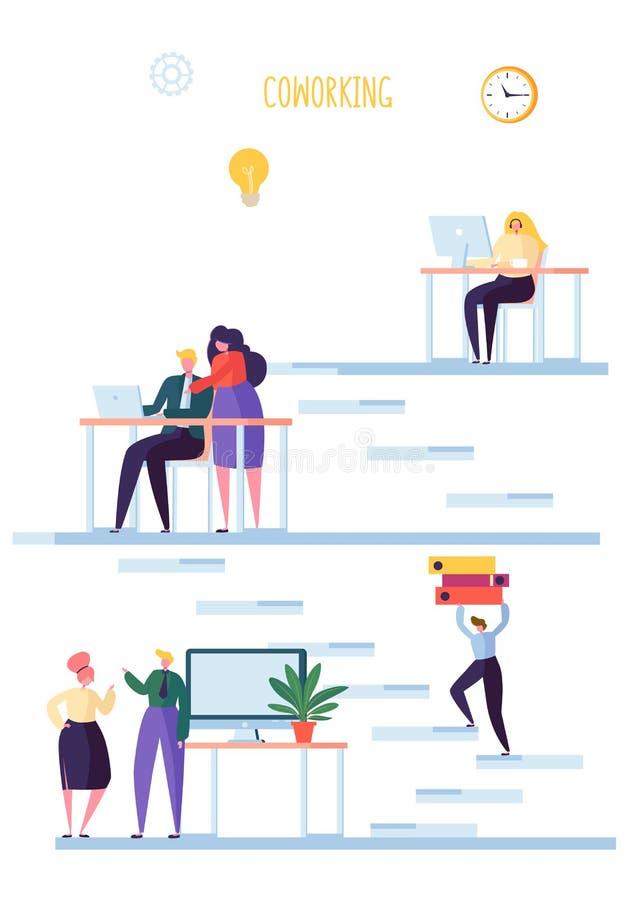 Coworking空间概念 工友字符队工作 办工室职员与膝上型计算机和计算机一起使用 向量例证