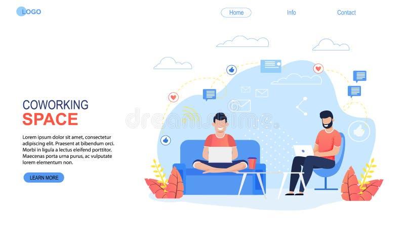 Coworking空间着陆页平的动画片模板 库存例证