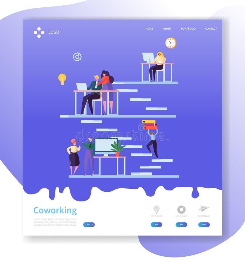 Coworking队工作着陆页 与网站模板的平的人字符的开放工作区概念 皇族释放例证