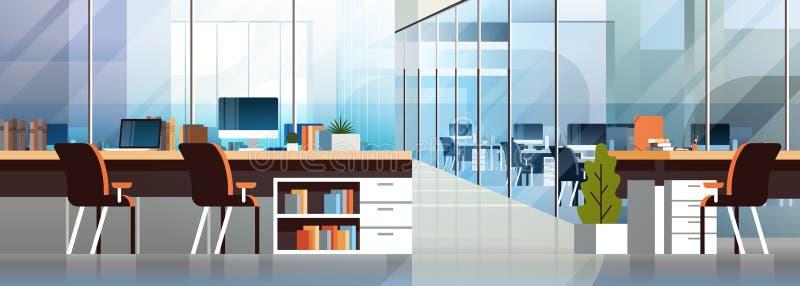 Coworking γραφείων εσωτερικός σύγχρονος κεντρικών δημιουργικός εργασιακών χώρων κενός χώρος εργασίας εμβλημάτων περιβάλλοντος ορι διανυσματική απεικόνιση