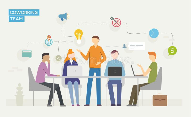 Coworking 与使用膝上型计算机的青年人的企业概念 库存例证