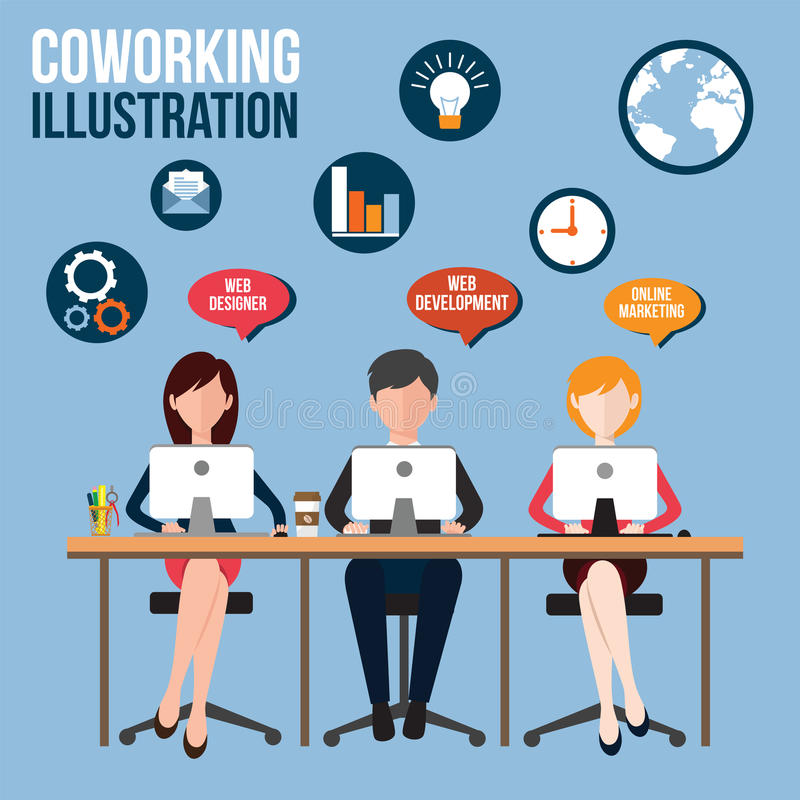 Coworking vektor illustrationer