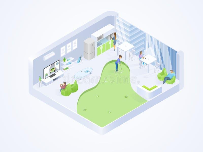 Coworking-Büro-Aufenthaltsraum-isometrischer Innenvektor lizenzfreie abbildung