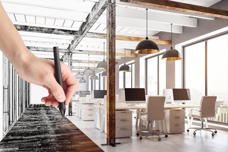 Coworking Büro der Handzeichnung stockfotos