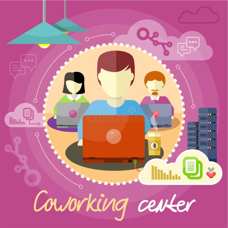 Coworking begrepp samtal för möte för bärbar dator för skrivbord för affärsaffärsmancmputer le till att använda kvinnan stock illustrationer