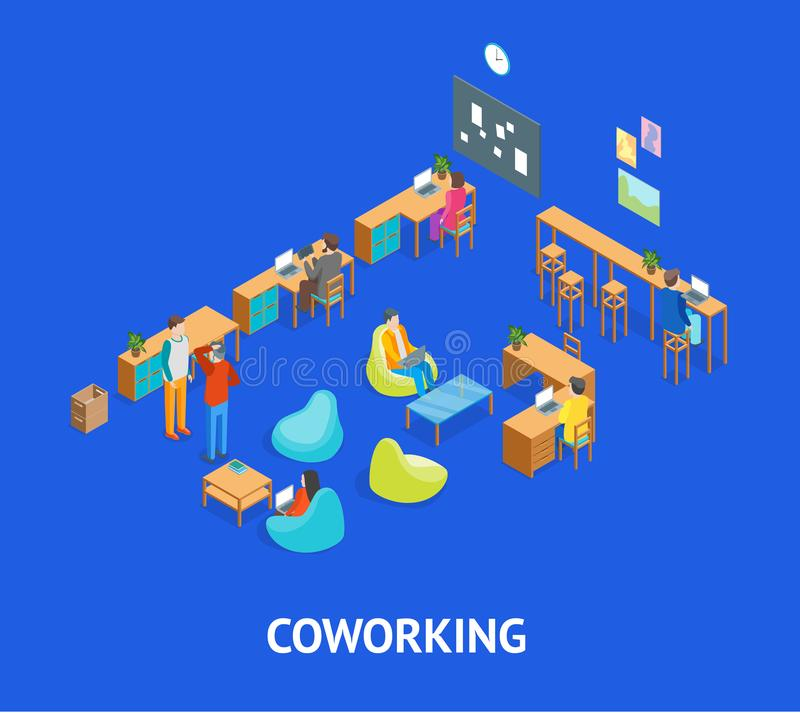 Coworking Center Interior with Furniture Elements Isometric View. Vector royalty free illustration
