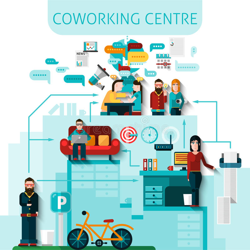 Coworking Centre Composition. With communication and transport symbols flat vector illustration vector illustration