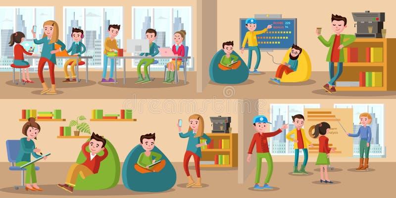 Coworking Centrum Horyzontalni sztandary ilustracji