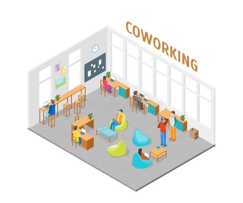 Coworking centrum wnętrze z Meblarskim Isometric widokiem wektor ilustracja wektor