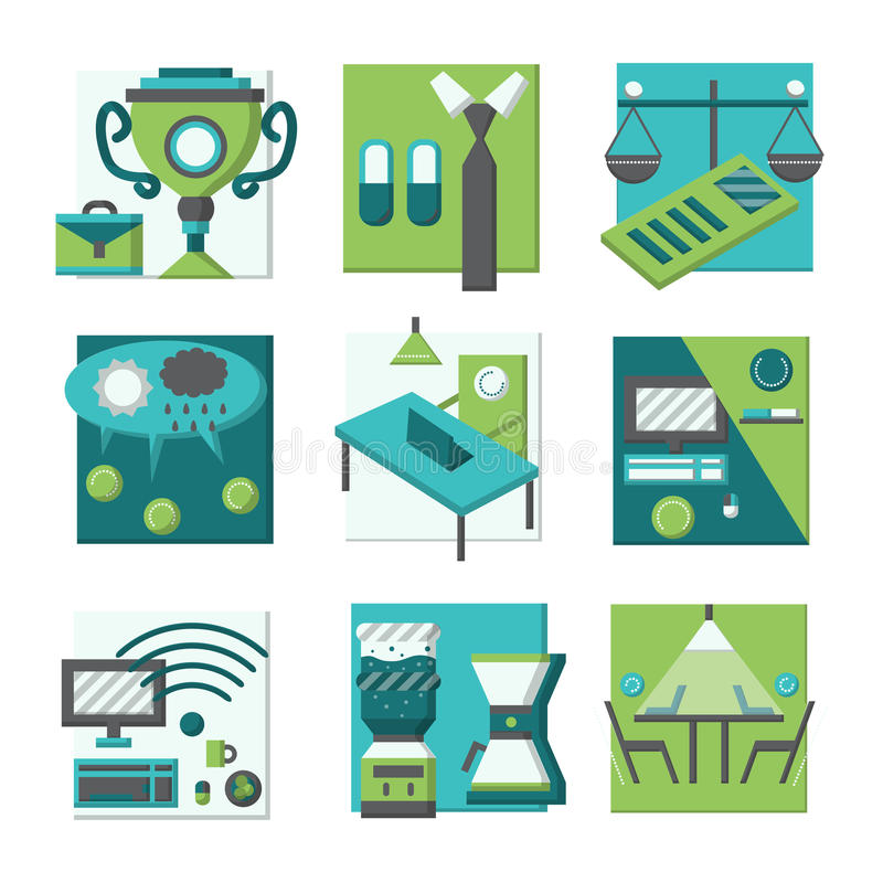 Coworking concepts flat color icons. Set of flat color blue and green icons for co-working elements and concepts. Achievements, freelance, teamwork organization stock illustration