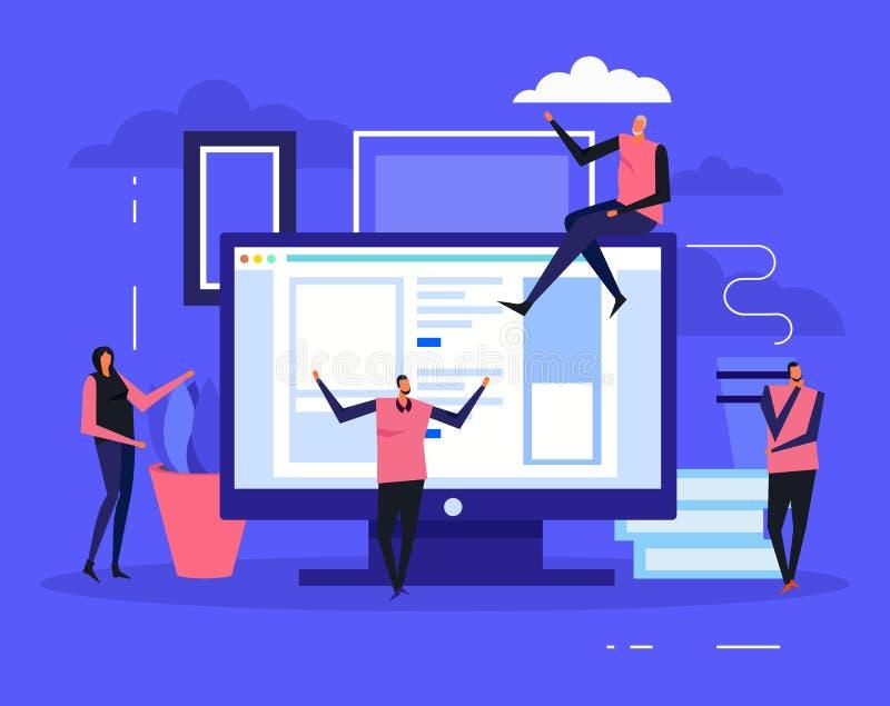 Coworking Creative Team Background vector illustration