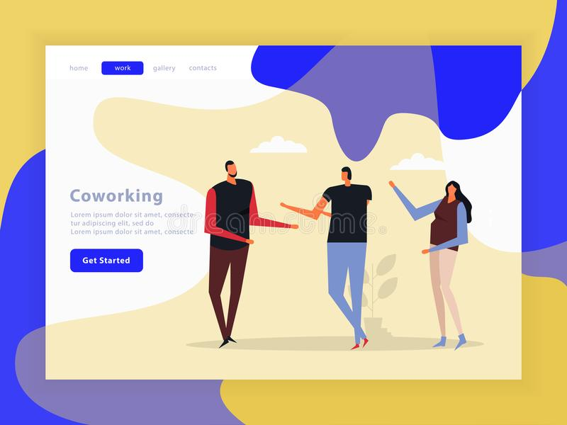 Coworking Creative Team Landing Page vector illustration