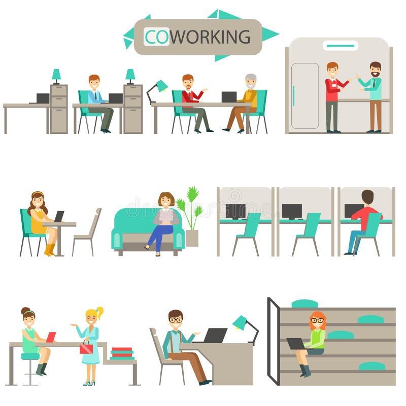 Coworking en sistema moderno del ejemplo de Infographic de la oficina conceptora stock de ilustración