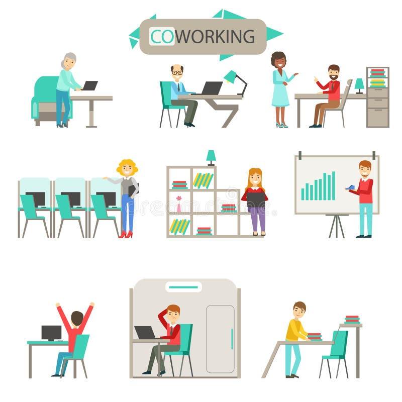 Coworking en sistema moderno del ejemplo de Infographic de la oficina del espacio abierto ilustración del vector