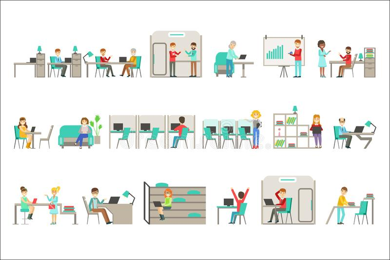 Coworking en sistema moderno del ejemplo de Infographic de la oficina conceptora ilustración del vector