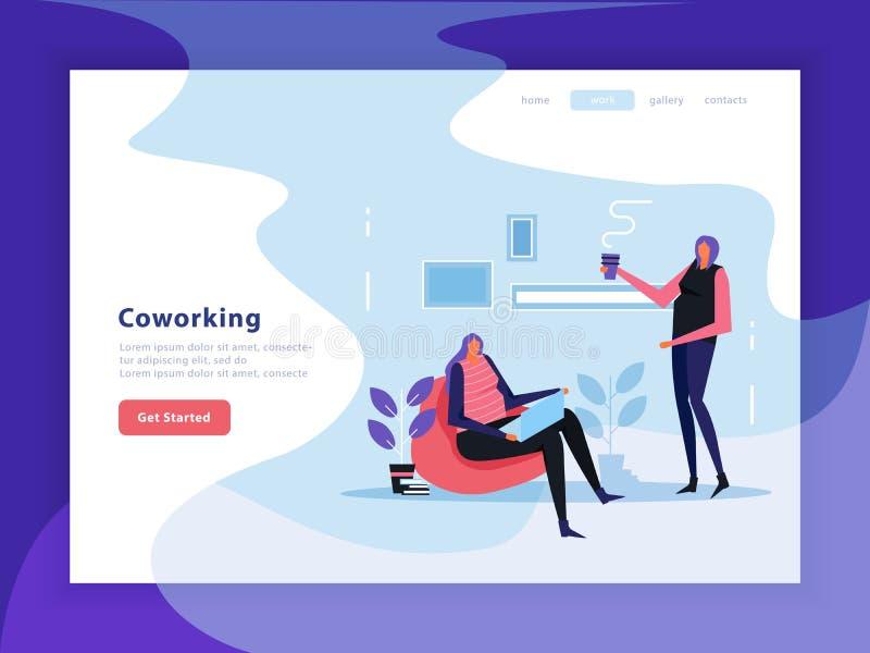 Coworking Flat Landing Page royalty free illustration