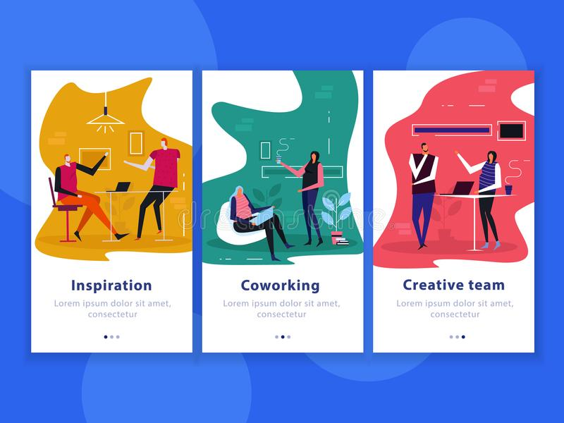 Coworking Flat Vertical Banners. Set of flat vertical banners coworking, creative team, inspiration isolated on blue background vector illustration vector illustration