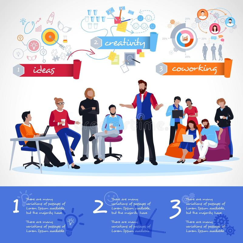 Coworking Infographics Template royalty free illustration