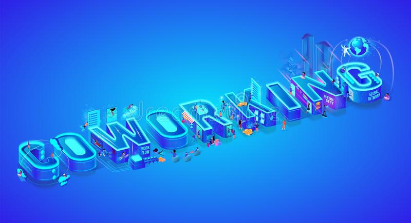 Coworking. Isometric 3d Word. Creative Workflow. royalty free illustration