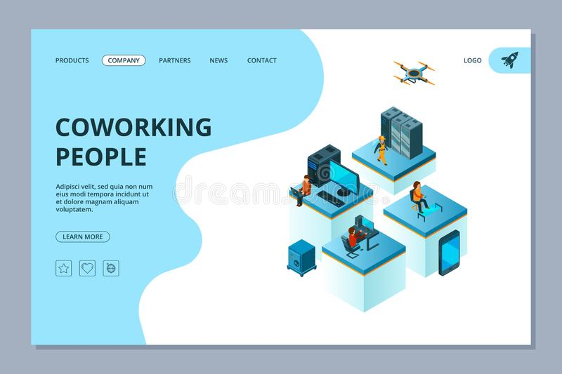Coworking landing. Web page design template business people team building managers meeting and brainstorming vector vector illustration