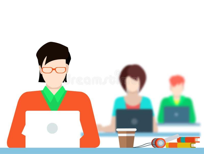 Coworking Leute des flachen Vektors, die mit Laptop im Büro arbeiten lizenzfreie abbildung
