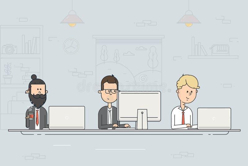 Coworking mitt samtal för möte för bärbar dator för skrivbord för affärsaffärsmancmputer le till att använda kvinnan Lagarbete Fo royaltyfri illustrationer
