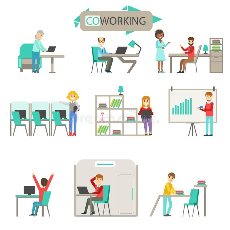 Coworking no grupo moderno da ilustração de Infographic do escritório do espaço aberto ilustração do vetor