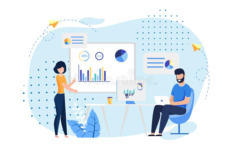 Coworking Office and Employees Flat Illustration. Coworking Office and Employees Sharing Working Space. Man Typing on Laptop, Woman Reports Standing near stock illustration