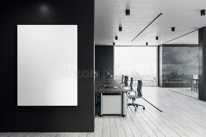 Coworking office with empty billboard stock illustration