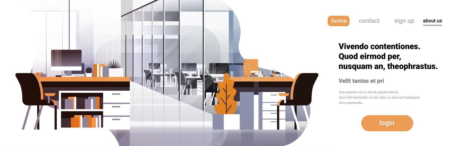 Coworking office interior modern center creative workplace environment horizontal banner copy space empty workspace flat stock illustration