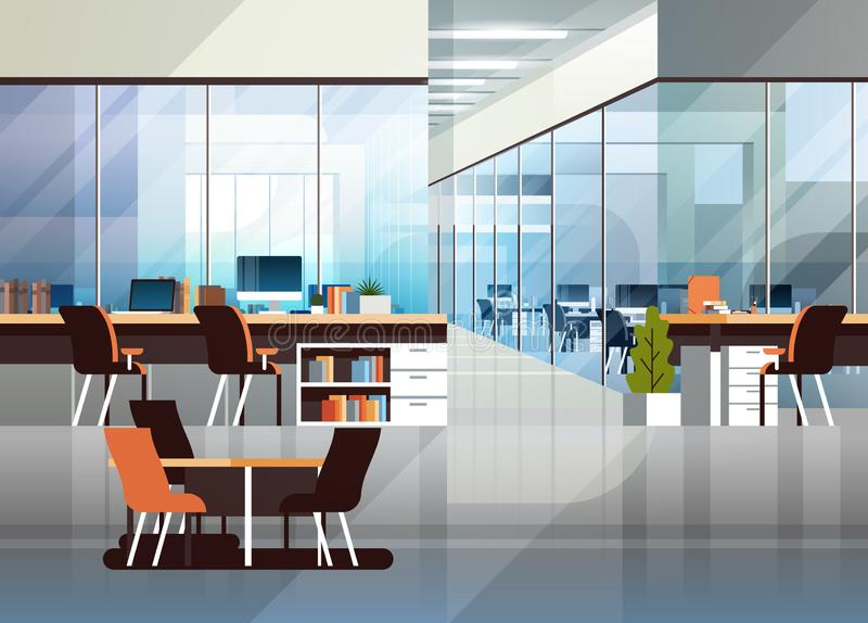 Coworking office interior modern center creative workplace environment horizontal empty workspace flat royalty free illustration