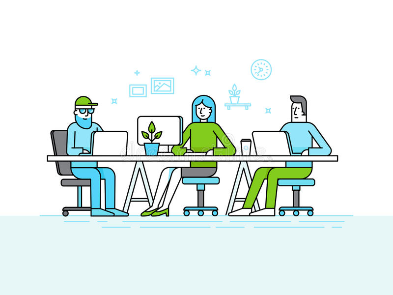 Coworking office space - creative team of people working at the. Vector illustration in trendy flat linear style and infographics design elements - coworking royalty free illustration