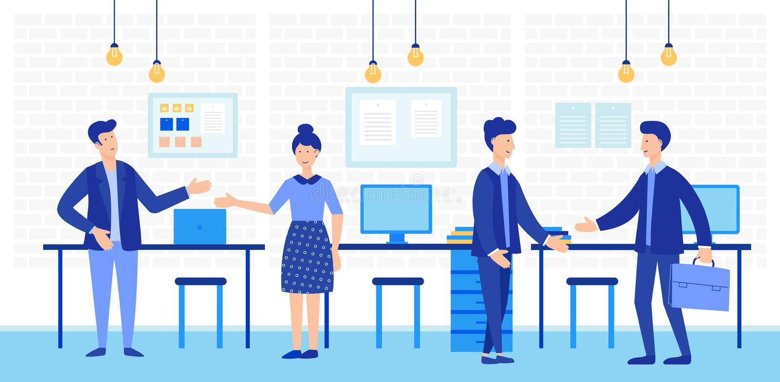 Coworking open space with creative office people. Business team working together vector illustration. vector illustration