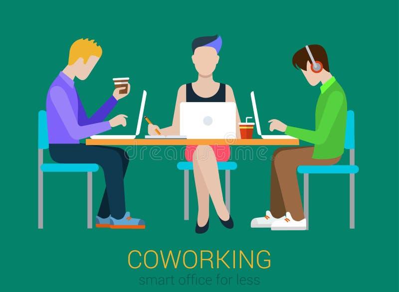 Coworking płascy wektorowi ludzie inkasowi ilustracji