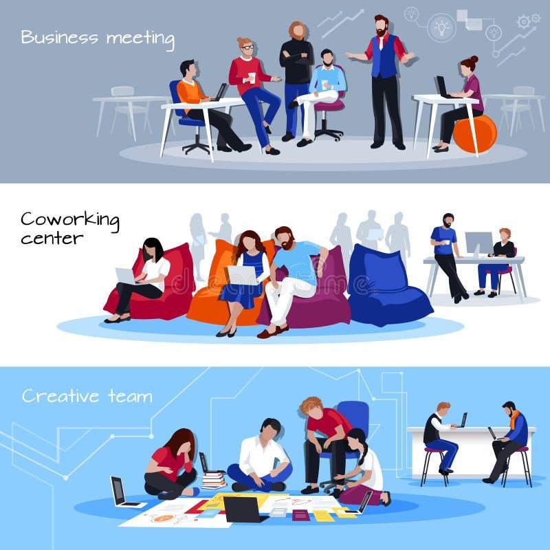 Coworking Płaskich Horyzontalnych sztandarów ludzie ilustracja wektor