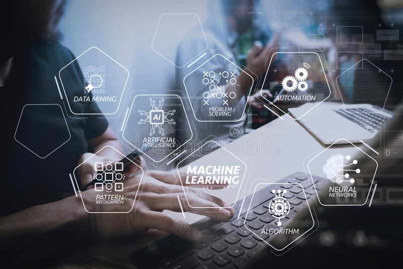 Coworking process, entrepreneur team working in creative office. Machine learning technology diagram with artificial intelligence (AI),neural network,automation royalty free stock photo