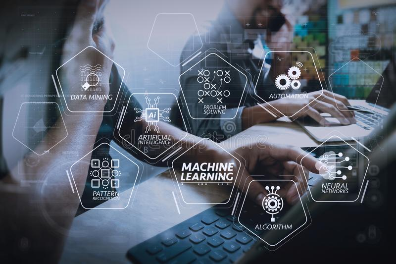 Coworking process, entrepreneur team working in creative office. Machine learning technology diagram with artificial intelligence (AI),neural network,automation stock images