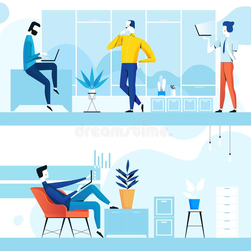 Coworking przestrzeń z kreatywnie ludźmi Biznesu drużynowy działanie używać laptop P?aski projekt royalty ilustracja