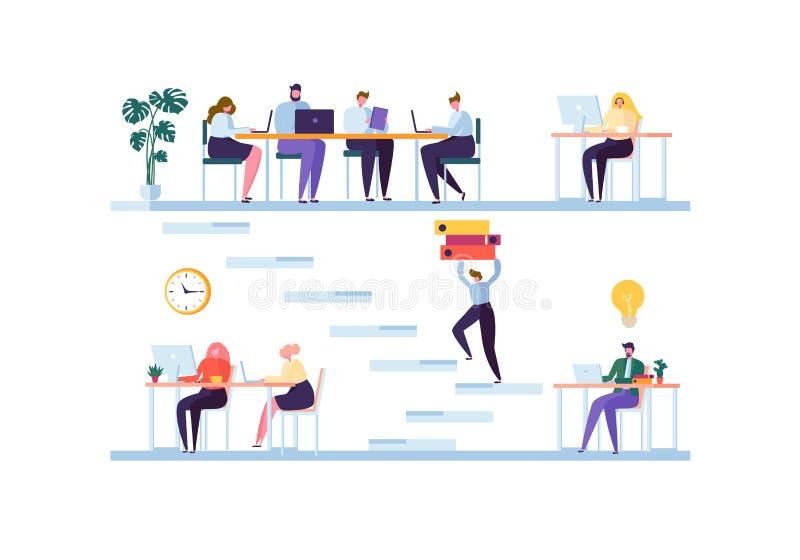 Coworking-Raumkonzept Mitarbeiter-Charaktere Team Working Büroangestellte, die mit Laptop und Computer arbeiten stock abbildung