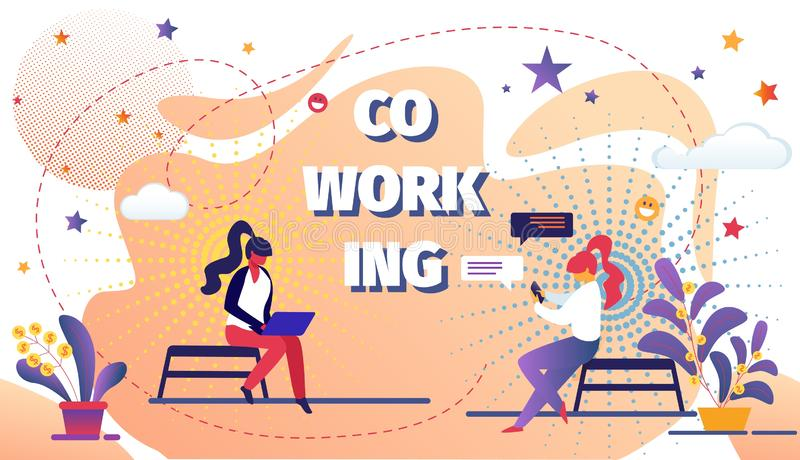 Coworking Space with Creative People Remote Worker stock illustration