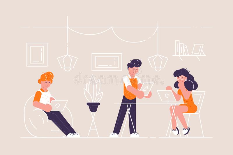 Coworking space with creative people vector illustration