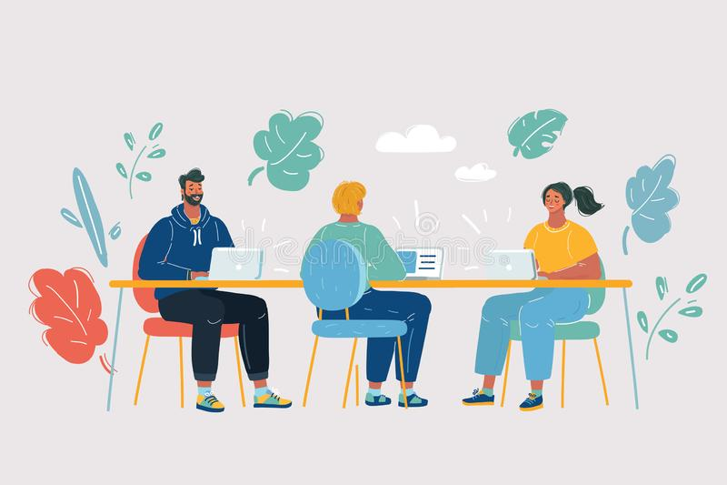 Coworking space with creative people royalty free illustration
