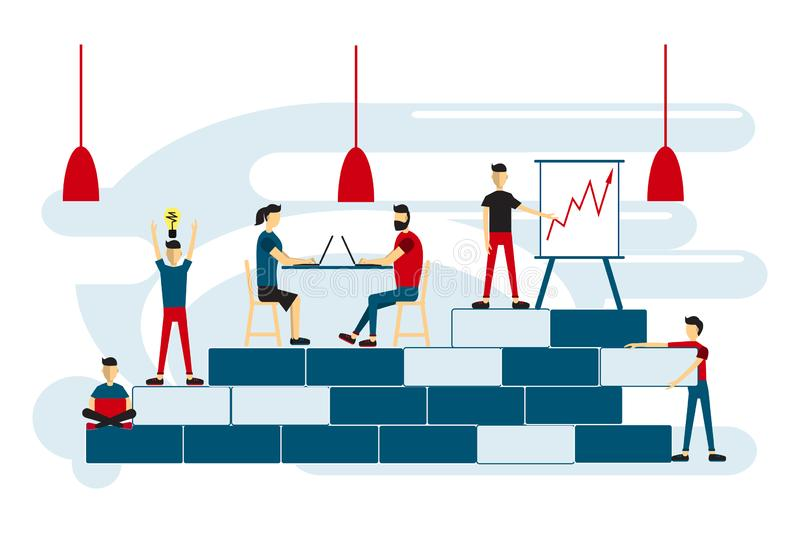 Coworking space with creative people sitting at the table. Increase sales and skills. Team thinking and brainstorming. Vector illu. Stration stock illustration