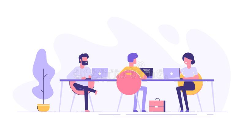 Coworking space with creative people at the table royalty free illustration