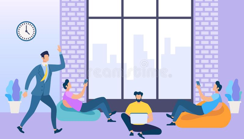Coworking Space with Creative People Using Gadgets vector illustration