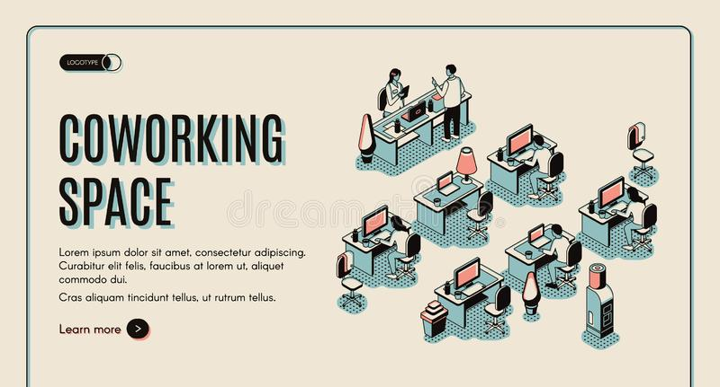 Coworking space isometric landing page. Teamwork vector illustration